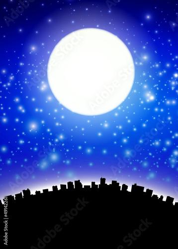 Full moon above city