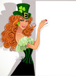 Red-haired girl Leprechaun holding a large banner
