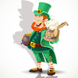 Cute Leprechaun with beer and pot of gold
