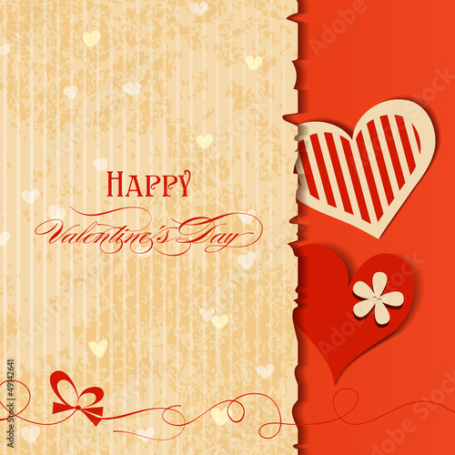 Love card, retro Valentines design with hearts