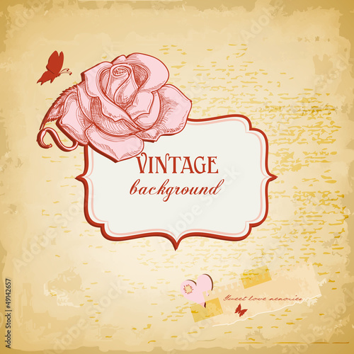 Vintage background, frame for text with rose vector illustration