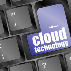 the words cloud technology printed on keyboard, technology