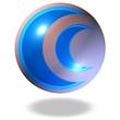 blaue glänzende Kugel