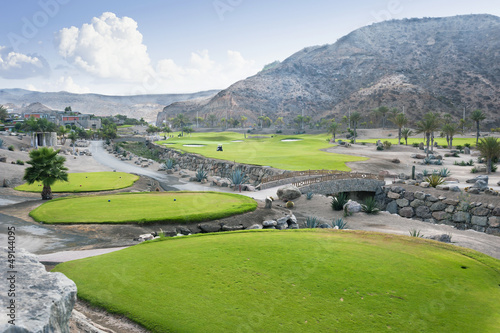 Golf course fairway at tropical resort, Canary Islands, Spain