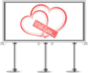 Outdoor billboard with pair of love heart sign