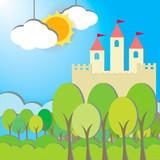 Fantasy Castle cardboard card in morning background