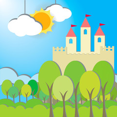 Fantasy Castle cardboard card in morning background