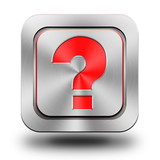 Question mark aluminum glossy icon, button