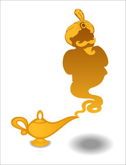 Gold Aladdin Lamp with a ghost
