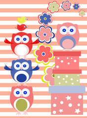 Background with flower, owls and gift boxes