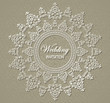 Elegant wedding invitation with round lace pattern
