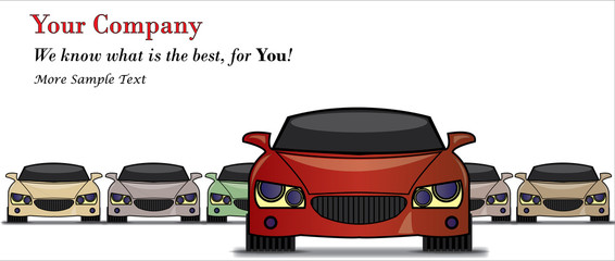 Illustration of Car Sale with the best car in front