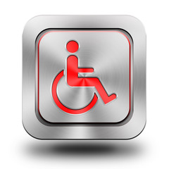 Wheelchair aluminum glossy icon, button