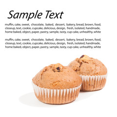 Sweet chocolate chip muffins over white with text