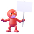 Superhero holds up a blank placard