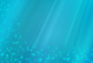 Abstract blue background with rays and stars