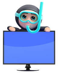 Scuba looks over the top of a widescreen tv