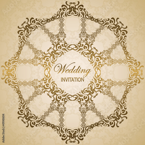 Stylish wedding invitation with round floral pattern