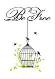 open birdcage with free birds, vector