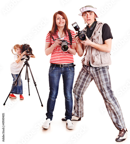 Happy family with three camera.