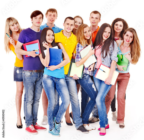 Group student with notebook.