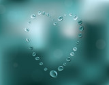 Heart shaped rain drops on a glass. Vector illustration