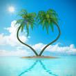 Herz Palmen Insel Strand Urlaub 3D