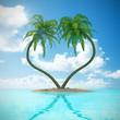 Palmen in Herzform Insel Sand Urlaub