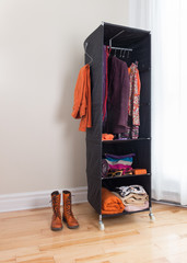 Mobile clothes organizer in a room
