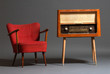vintage radio and armchair - 49152692