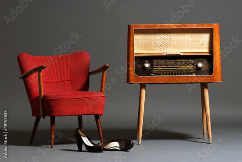vintage radio  armchair shoes