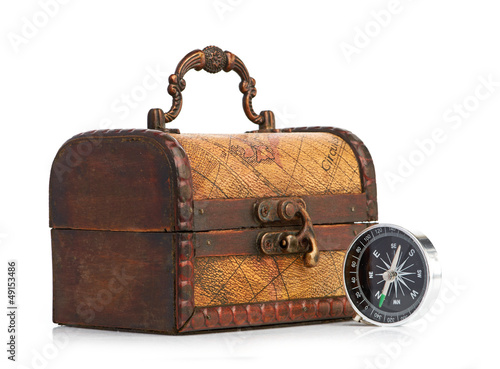 chest and compass isolated on white background