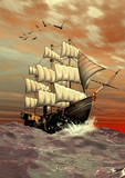 FAntasy Scene With A Sailing Ship