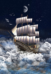 Fantasy Scene With A Sailing Ship And Clouds