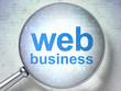 Web design SEO concept: optical glass with words Web Business