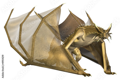 Deurstickers Draken Crawling Yellow Dragon - Computer Artwork