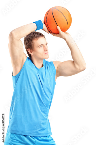 Basketball player about to score a point