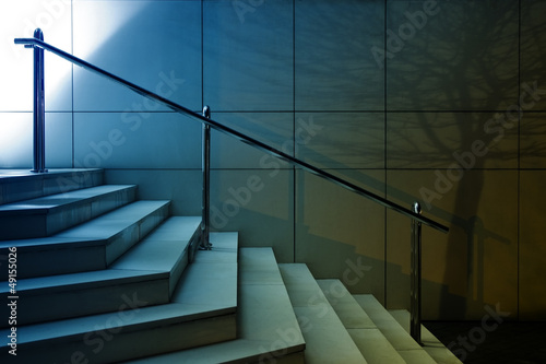 Stairs with tree shadow on the wall