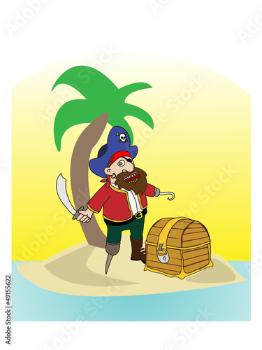 Pirate On The Island With Tresure Chest Vector