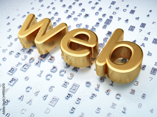 Web development SEO concept: Golden Web on digital background