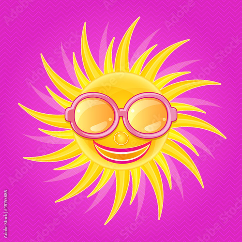 Shiny Yellow Sun with Smile