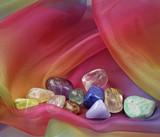 Healing Crystals on rainbow chiffon