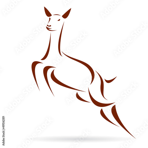 Vector illustration of deer symbol - tattoo