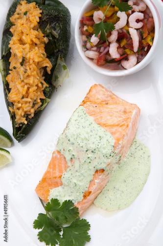 Grilled Salmon With Cilantro - Jalapeno Creme