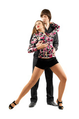 Young sensual couple dancing tango
