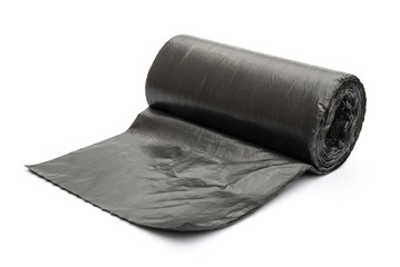 roll of garbage bags on white
