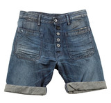 Denim shorts with hem