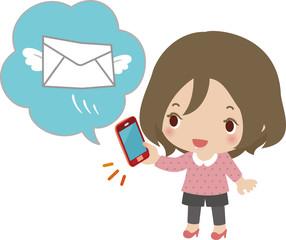 スマートフォンでメールを送信する女性