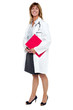 Smiling female physician holding clipboard