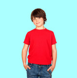 Smiling child with red shirt
